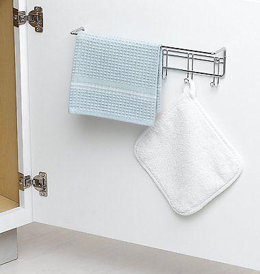 Towel Rack Hanging Small Organizer Wall Mount Bathroom Kitchen Cabinet Door Hook
