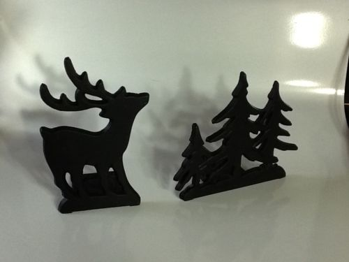 Set Cast Iron Alpine Rustic Forest Cabin Candle Holders  Deer & Pine Trees
