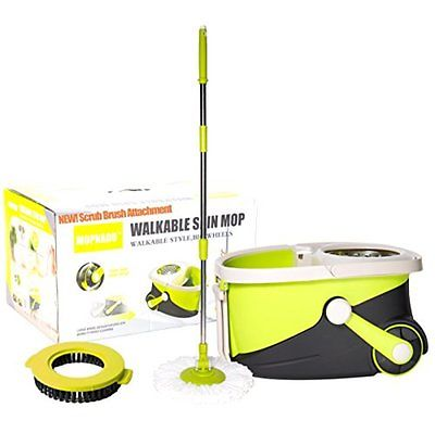 Mopnado Wet Mops Stainless Steel Deluxe Rolling Spin Mop with 2 Microfiber Mop -