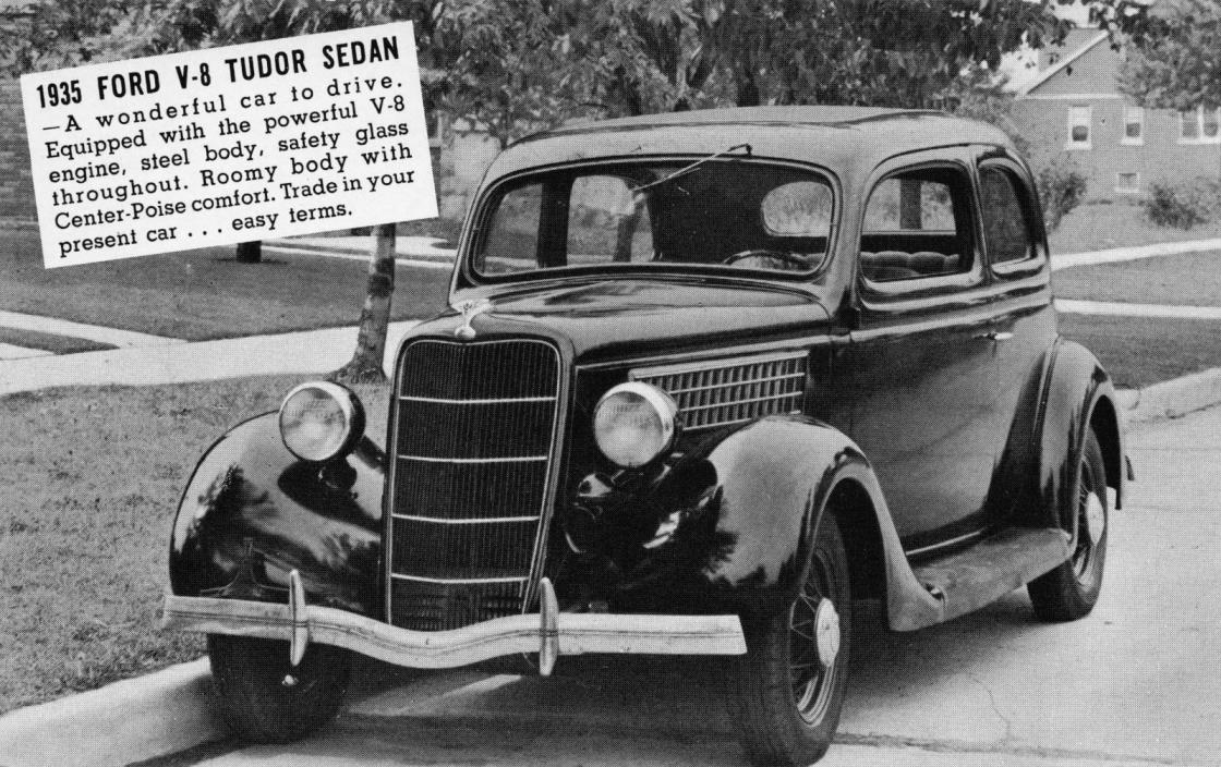 Automobile Advertising Postcard 1935 Ford V-8 Tudor Sedan~110557