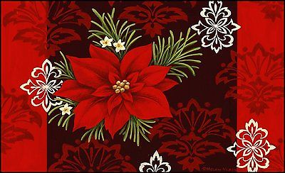 Toland Home Garden Red Damask 18 x 30-Inch Decorative USA-Produced Standard Mat