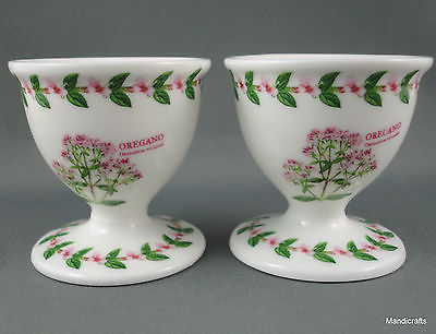 Easter Egg Cup Holder x 2 Oregano Floral Herb Decor Pink Green unsigned Nice