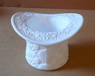 WHITE MILK GLASS TOP HAT ASHTRAY MINT CANDY TOOTHPIC DISH STAR PATTERN UNMARKED