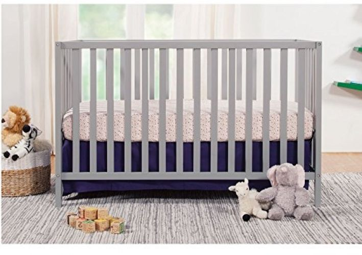 Convertible Crib 3 in 1 Baby Toddler Nursery Bed Furniture Grey Wood Infant Room