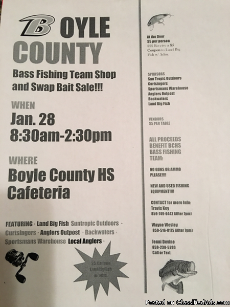 Boyle County High School Bass Fishing Team Shop and Swap