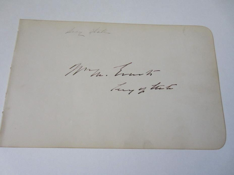 William M. Everts autographed album page as Secretary Of State