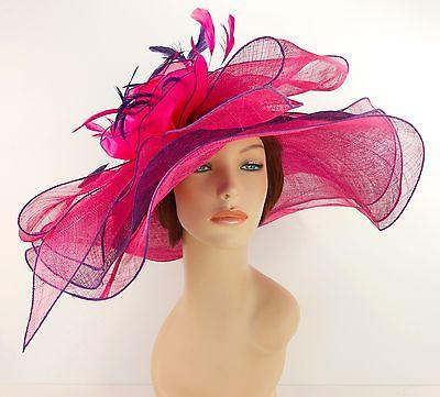 New Woman Church Derby Wedding Sinamay 3 Layers Dress Hat 3534 Purple / Hot Pink