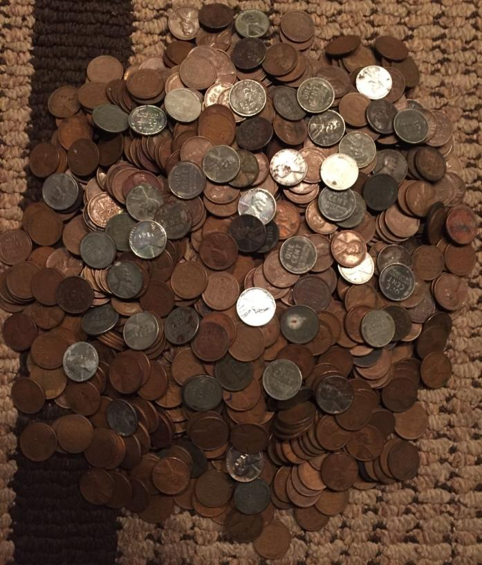 7 1/2 pounds unsearched wheat pennies sprinkled with 52 steel 1 cent US coin