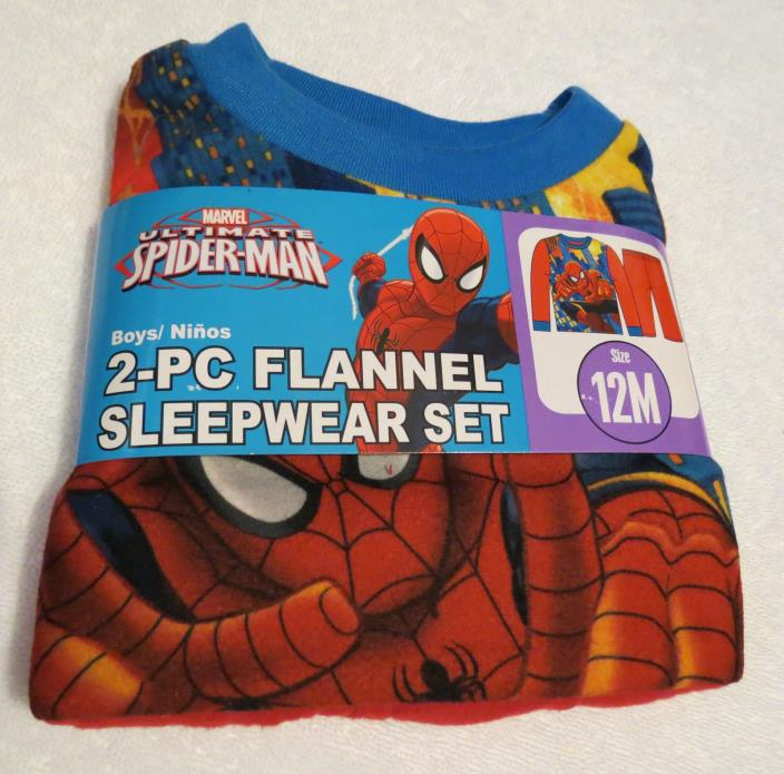 Boys/Toddler 12 M Marvel Ultimate Spiderman Flannel Sleepwear 2-Pc Set Size 12 M