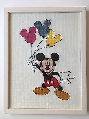 Disney Mickey Mouse and Balloons Handmade Cross Stitch Framed Wall Decor