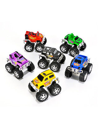 6 Pull Back Toy Monster Trucks Costume Accessory