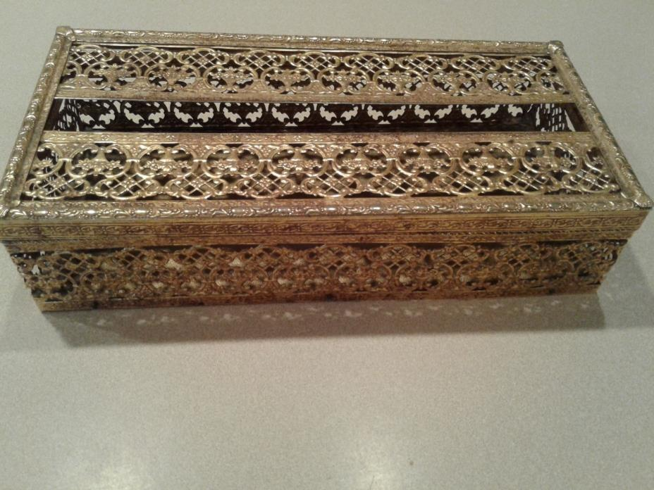 Vintage, Ornate, Brass/Gold color Filigree Kleenex / Tissue Box Holder/ Antique.