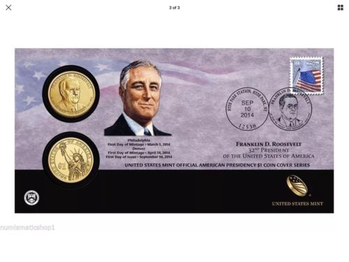 2014 Franklin D Roosevelt $1 First Day Dollar Cover Stamp & Coins P52 SEALED OGP