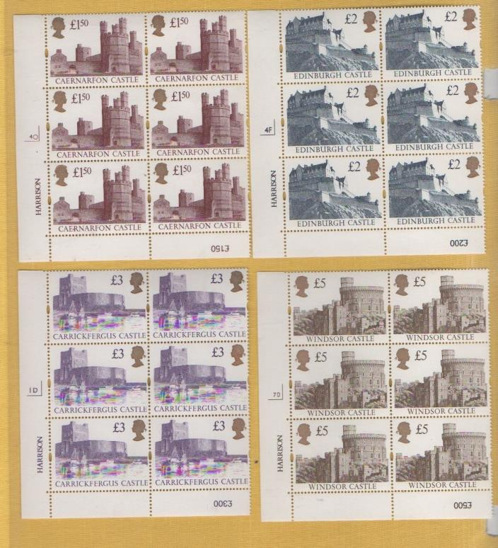 1992/1995 CYLINDER BLOCKS 6 UN-MOUNTED MINT Castles SET £1.50 to £5 SGCAT*£300+*