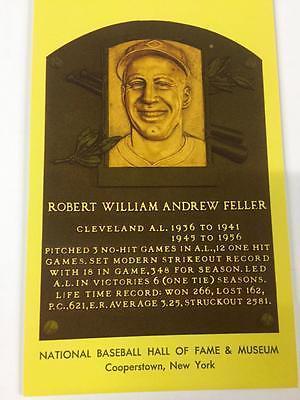 BOB FELLER Hall of Fame Gold Plaque Post Card~Baseball~CLEVELAND INDIANS~HOF