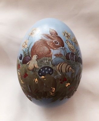 A DECORATED REAL DUCK EGG.BUNNY SCENE. PERFECT FOR AN EASTER BASKET OR DISPLAY.