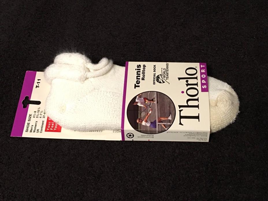 VTG 1995 NWT THORLO THICK 85% DURASPUN ACRYLIC WHITE & TAN ROLL TOP TENNIS SOCKS