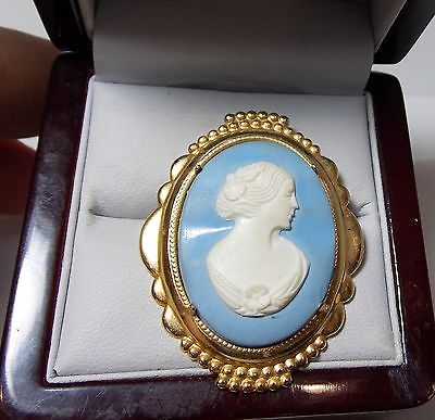 Vintage Victorian Lady Cameo Wedgwood Blue Background Gold Tone  Brooch.