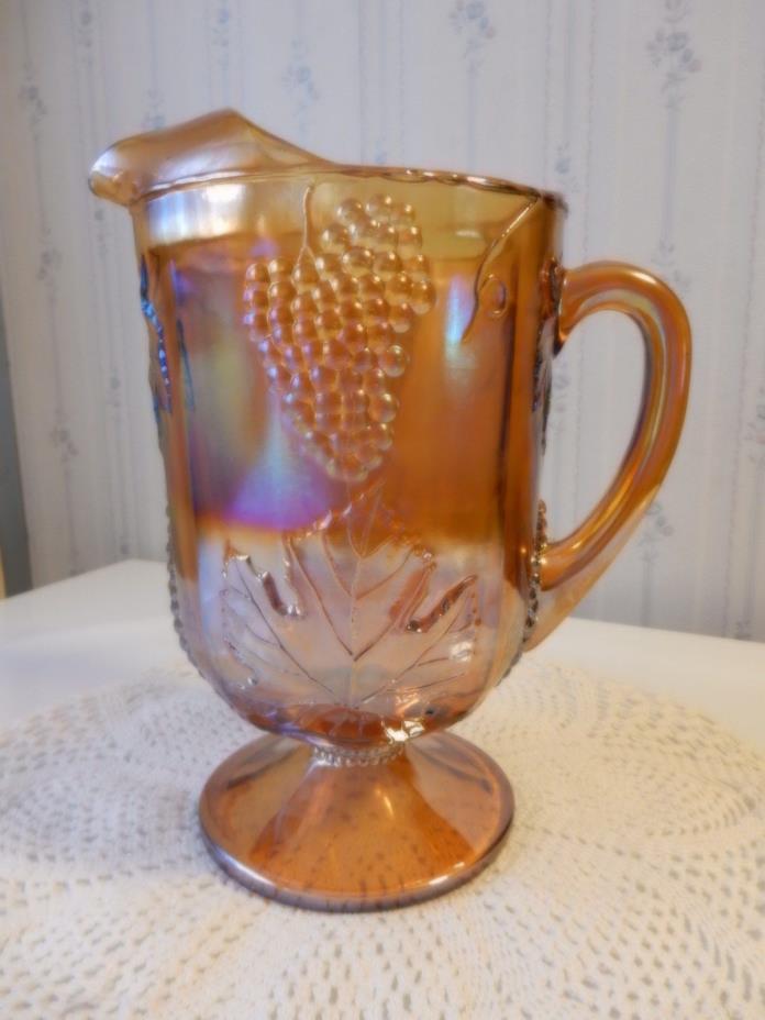 INDIANA GLASS MARIGOLD CARNIVAL GLASS GRAPE & LEAF HARVEST PITCHER