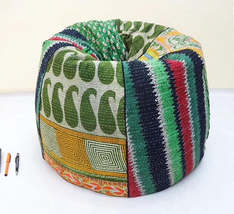 Handmade Quilted Cotton Floral Bohemian Bean Bag Chair Home Decor Round Decorati