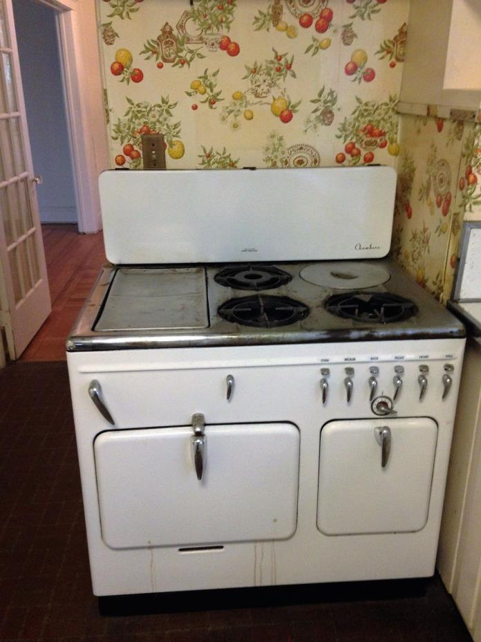 Vintage White Chambers Range, Gas Stove