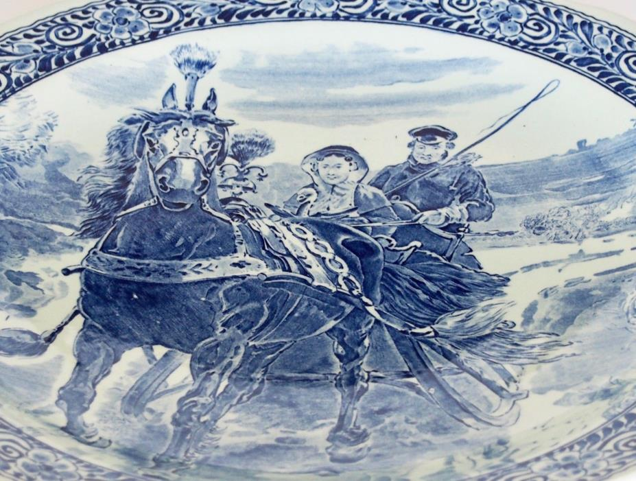 Large Delfts Blue Dutch Boch Wall Plate Charger Holland Horse Summer