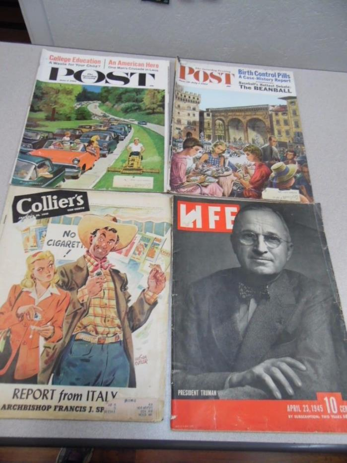 VINTAGE Post/Life MAGAZINE LOT of 4 Nice Vintage Magazines Truman