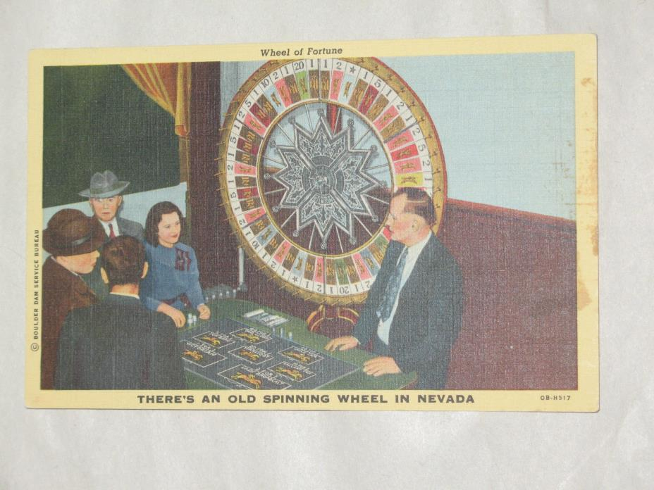 Vintage Wheel of Fortune There's An Old Spinning Wheel in Nevada Postcard