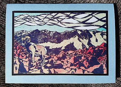 5 Handmade Bighorn Sheep Cards Big Horn Mountain Landscape American West Game
