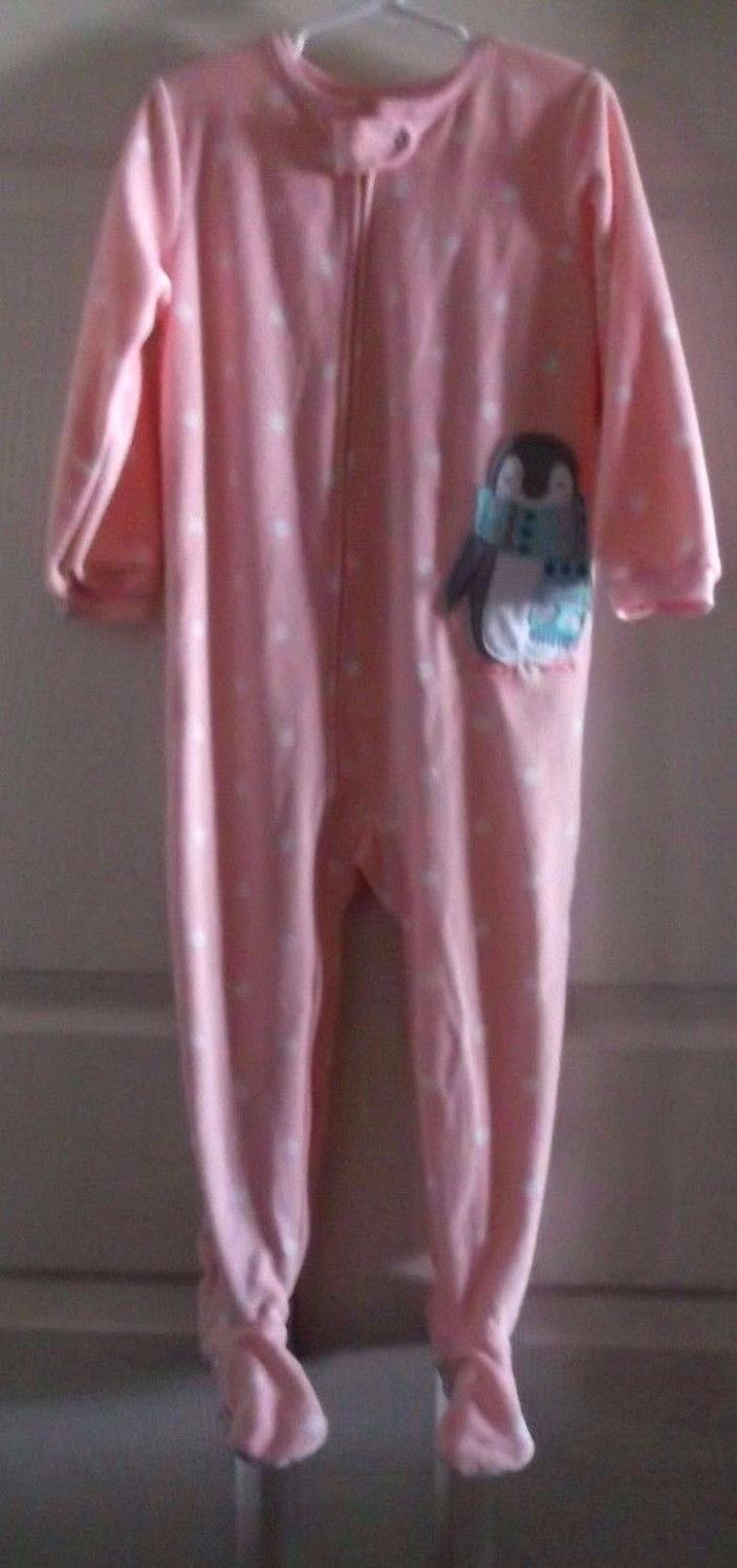 CARTERS S-4T GIRLS 100% POLYESTER FOOTED PJS PINK DOTTED PENGUIN SOFT