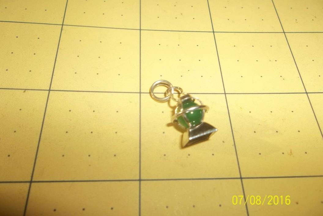 Vintage Lantern Green Crystal Set Sterling Silver Bracelet Charm 232163