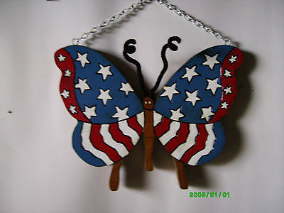 Patriotic American Flag Door or Wall Hanging Butterfly Plaque Handcrafted