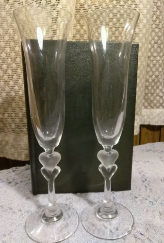 frosted heart champagne flutes