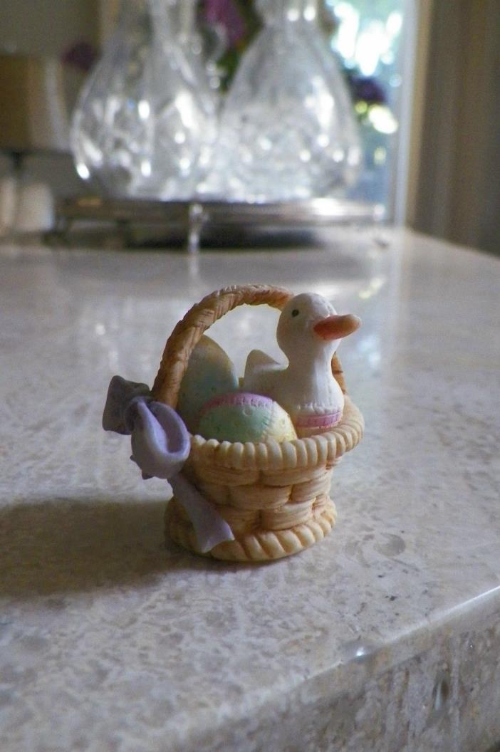 Vintage Enesco 1993 Priscilla Hillman Mini Easter Basket with Eggs & Duck