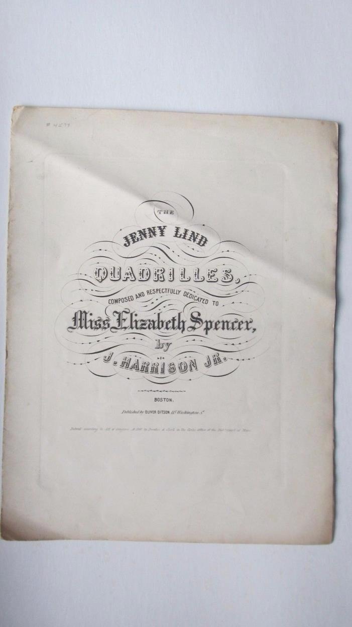 Rare 1847 Antique Sheet Music, JENNY LIND QUADRILLES, Antebellum Civil War Birds