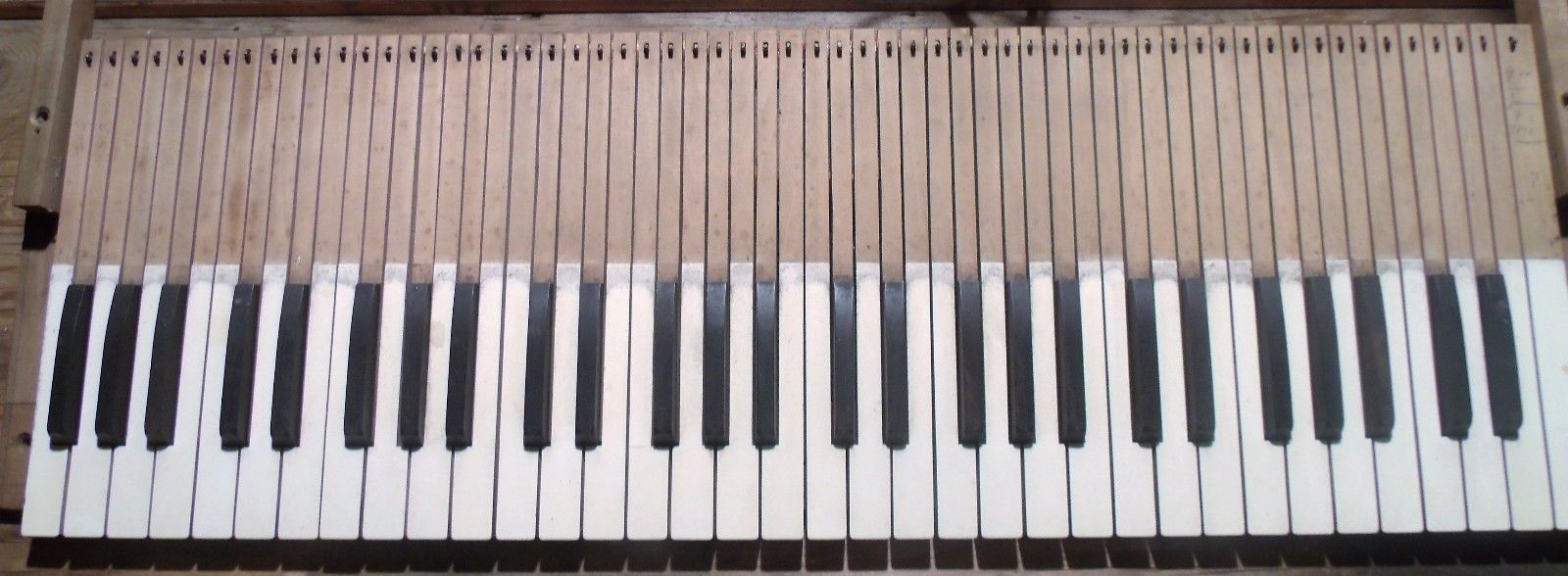 Vintage Pump Organ Keys 61 Salvaged Full Set Wood Keys Only Late 1800's Repurpos