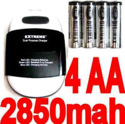 4 AA Rechargeable Battery power bank+charger for Blackberry Z10/9700/Xperia***&@