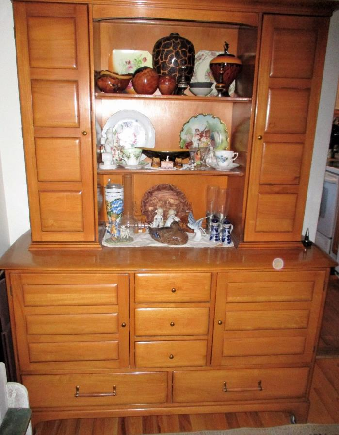 Vintage Solid Pecan China Hutch By Unique Furniture Makers, Asheville, NC,  1940s
