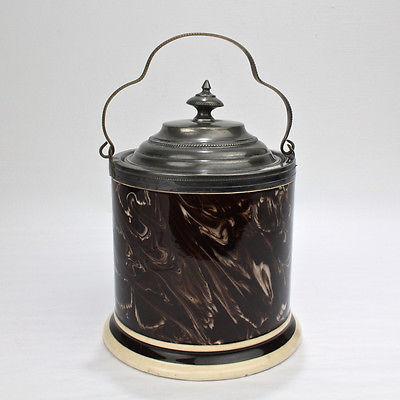 Antique Macintyre Mocha Pearlware Tobacco Humidor - Mochaware Slip Marbled PT