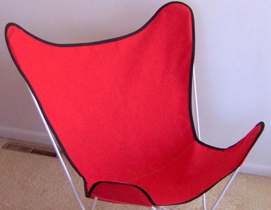 Cotton Duck Butterfly Chair Replacement Cover New Sling Red with Black Trim
