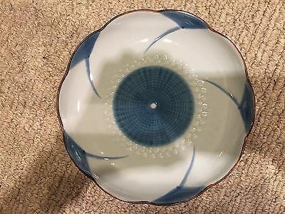 Blue and white decorative glass dish