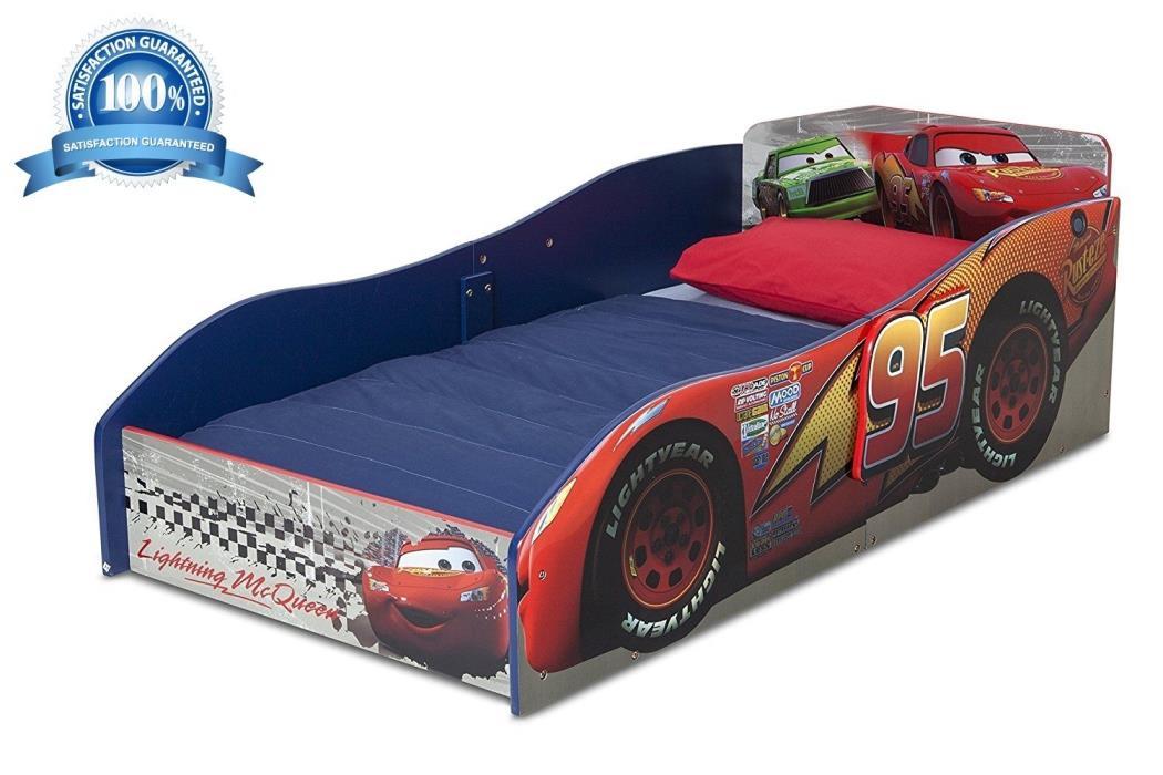 Disney Pixar Cars Wood Modern Toddler Bed Kids Children Bedroom Furniture