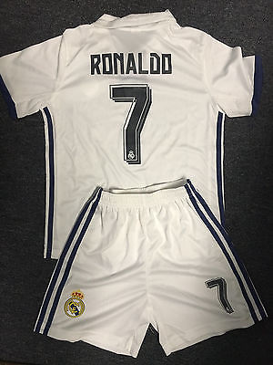 REAL MADRID #7 RONALDO HOME WHITE YOUTH KIDS JERSEY + SHORTS SIZE 22 (6-7 YEARS)