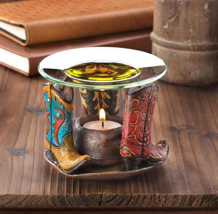 Cowboy Boots Oil Warmer Western Flair Decor Detailed Cabin Lake Log Home Decor
