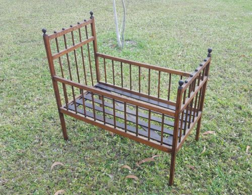 Antique Oak Toddler Kids Baby Doll Bed