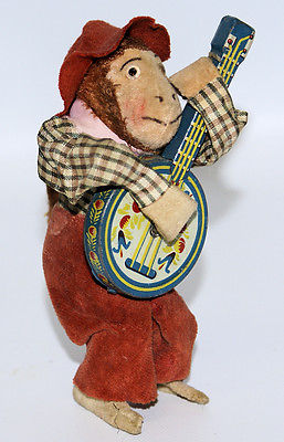 Vintage OCCUPIED JAPAN Mechanical Windup Musical Monkey Banjo Guitar Player