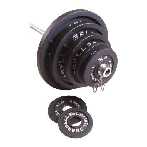 Barbell Weight Set Black 300 Pound 7 Ft Bar Olympic Plates Workout Strength
