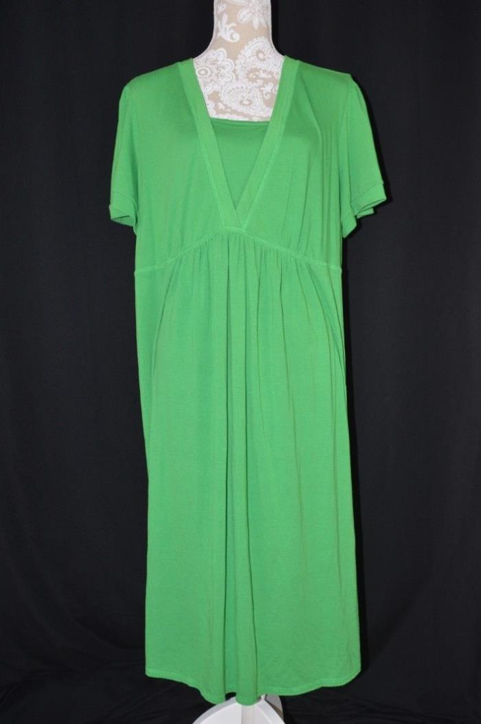 Motherhood Maternity Womens 3X Green Short Sleeve Mid Calf Maxi Dress