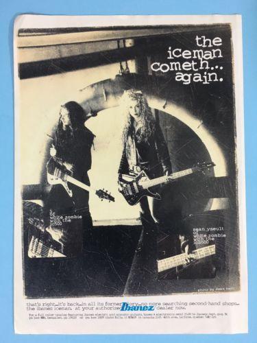 White Zombie J. Yuenger & Sean Yseult Ibanez Iceman IC500 ICB500 Guitar 8x11 Ad