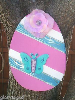Wood Easter Egg Door Hanger, Pink, White and Blue